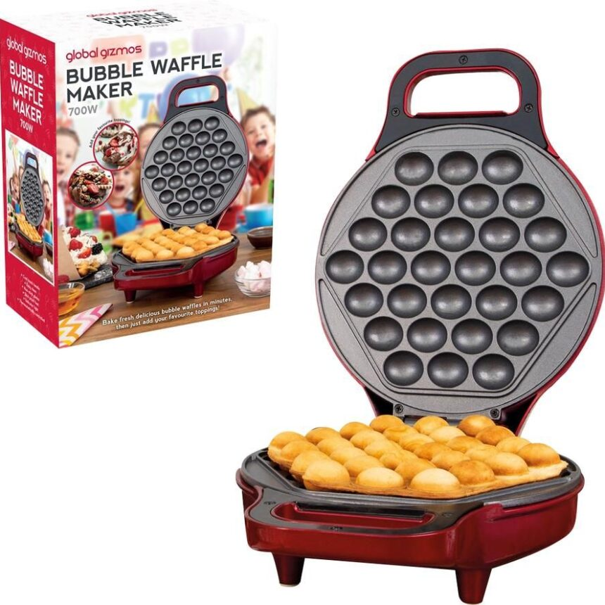 GLOBAL GIZMOS 35539 Bubble Waffle Maker - Metallic Red, Red
